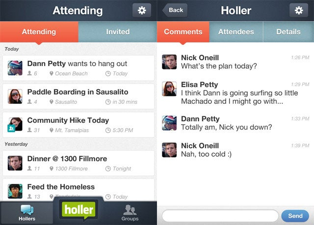 Holler App Screen-shots