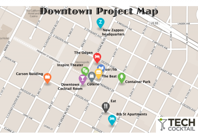 A Map of the Downtown Project in Las Vegas Downtown Las Vegas Map on