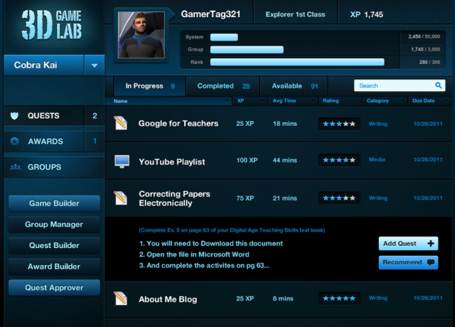 Screenshot of 3D GameLab