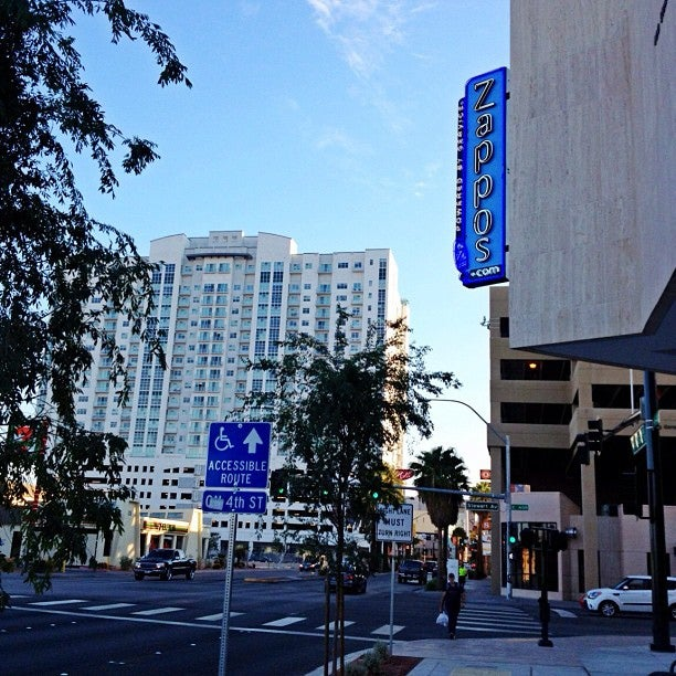 Zappos HQ with new neon sign from Las Vegas Blvd