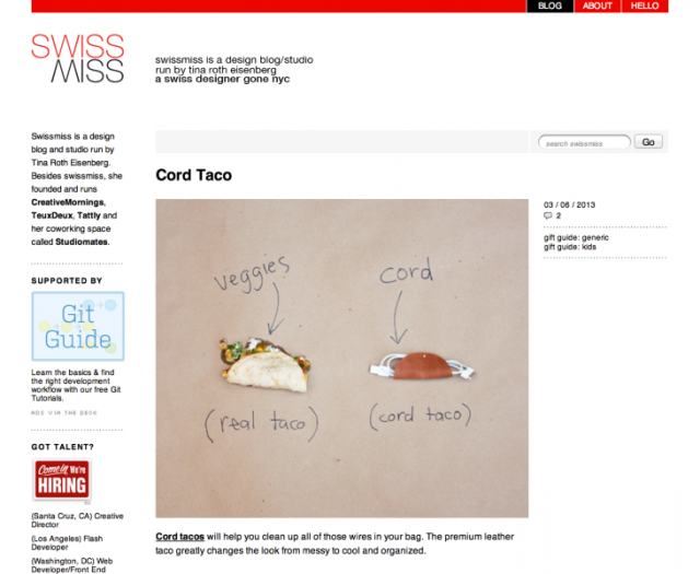 cord tacos on swiss miss