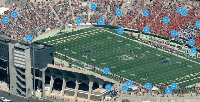 pCell technology visualized at a stadium
