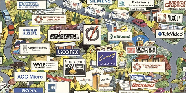 Check Out This Map Of Silicon Valley Companies In 1991