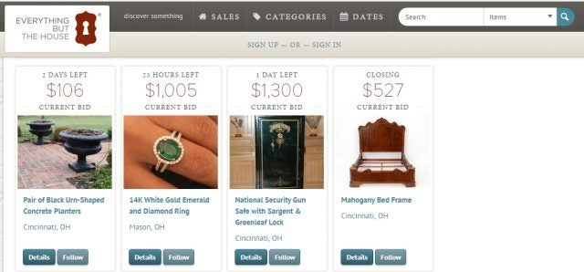 Everything But The House estate sales auction website