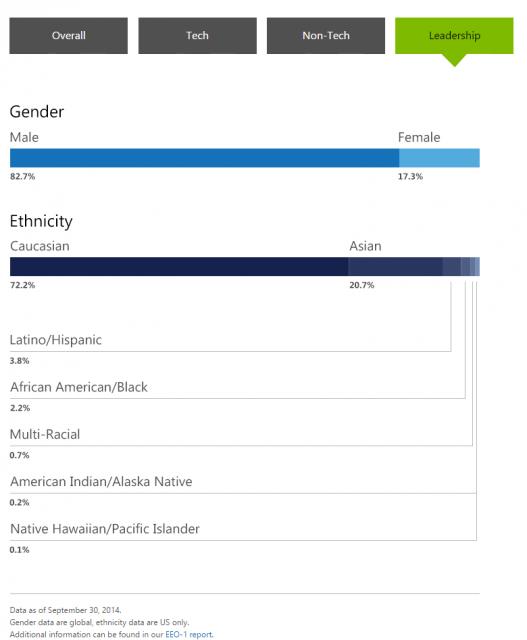 Microsoft Diversity Stats (Leadership)