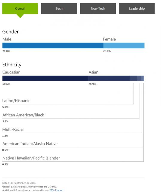 Microsoft Diversity Stats (Overall)