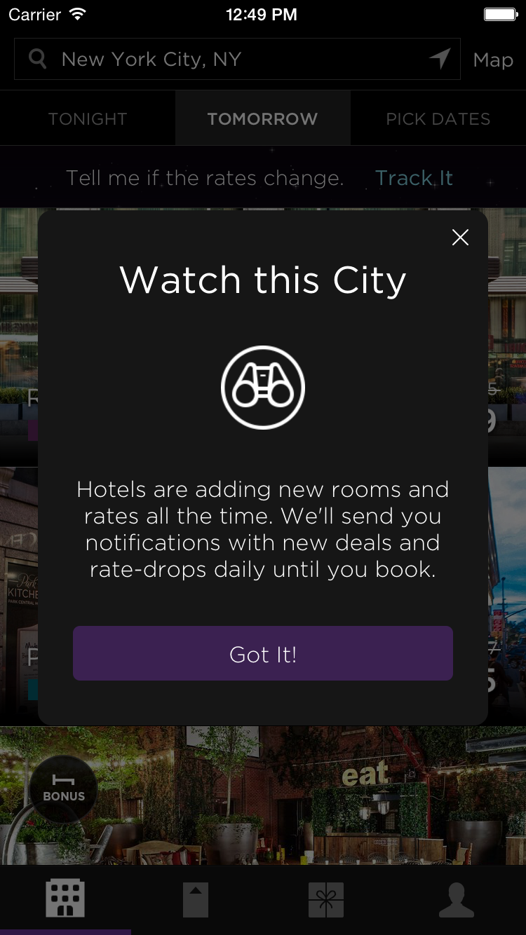 hoteltonight adds rate tracking for last minute booking