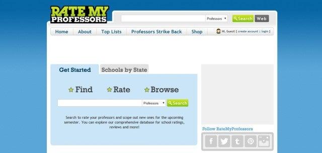 Ratemyprofessor App Screenshot