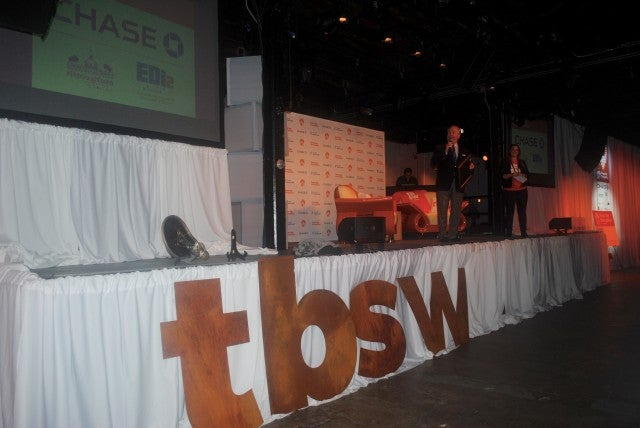 Tampa Mayor Bob Buckhorn joins Tampa Bay Startup Week lead organizer on stage at the #TBSW16 kickoff party.