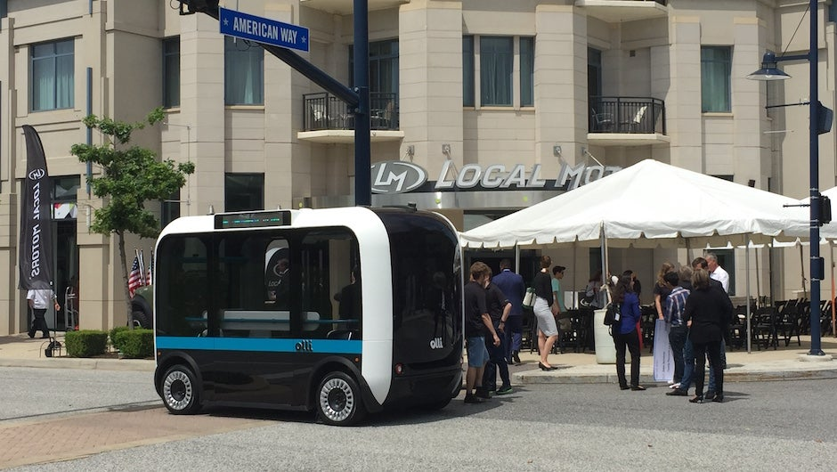 Local motors launches olli self driving electronic car at for Frank motors national city