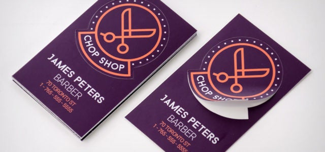 Chop shop barber business card stickers main