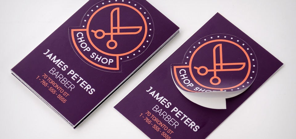 5 creative ways to use stickers to promote your brand chop shop barber business card stickers main - Business Card Stickers