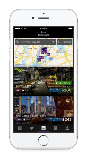 Venture and VentureOne cardholders can get an extra 10 percent off under Capital One's new partnership with HotelTonight. Photo credit: HotelTonight (used with permission)