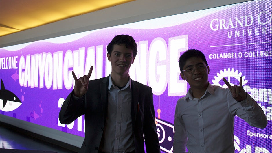 Joshua McGuire (left) and Luke Amargo presented their pitch for Storage Together at the 6th annual Canyon Challenge.
