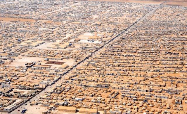 An aerial view of Za'atri camp in Jordan