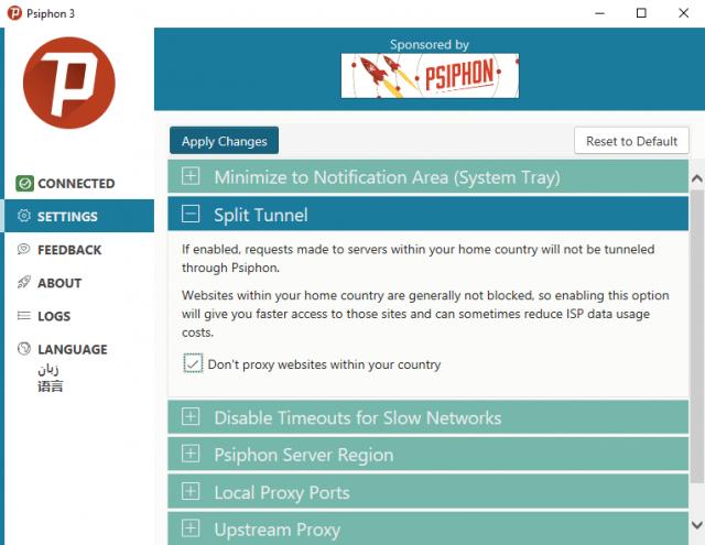 Psiphon VPN split tunnel