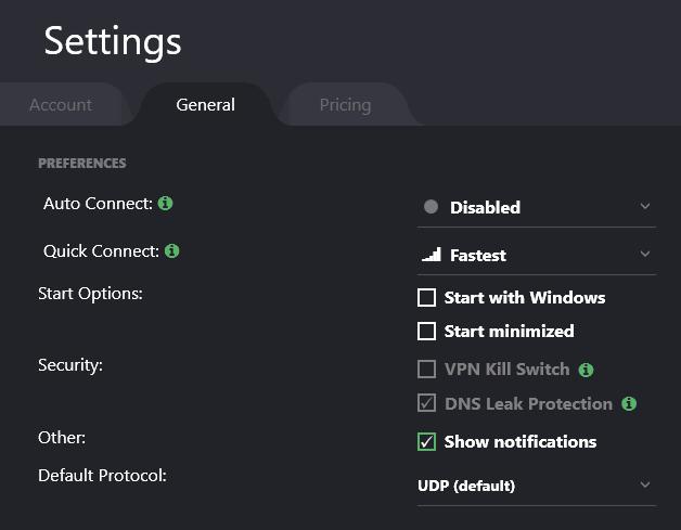 ProtonVPN Settings