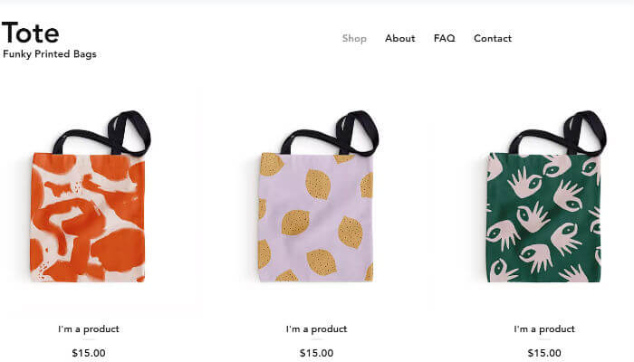 Wix online store Tote bag example page