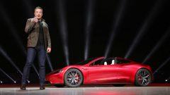 Elon Musk with the Tesla Roadster