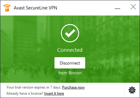 Avast Secureline VPN connect or disconnect
