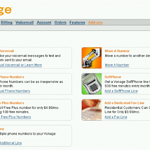 Vonage business screen with options