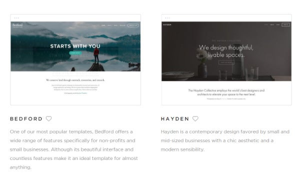 Squarespace template examples