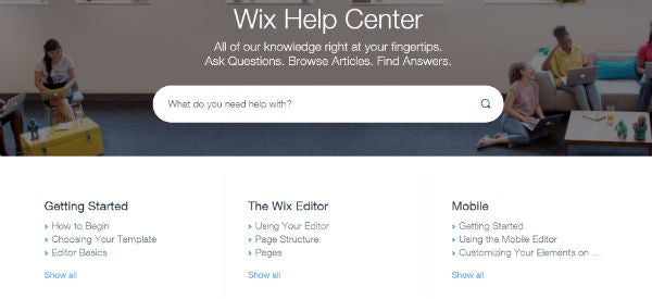 Wix website builder help centre