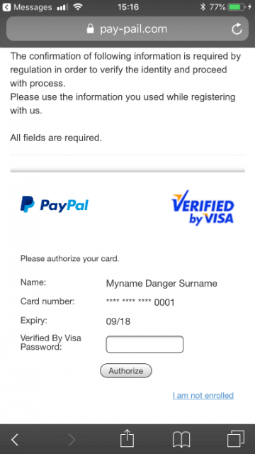 PayPal Scam Verified by Visa