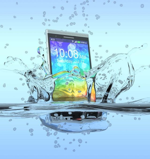 water splashing smartphone