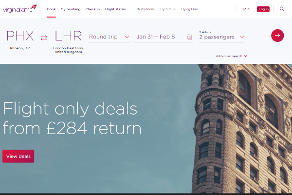 Virgin Atlantic Homepage Example