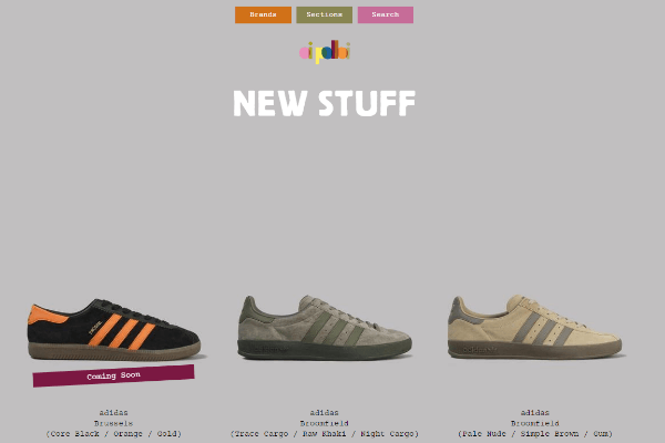 OiPolloi online store Homepage showcasing adidas sneakers