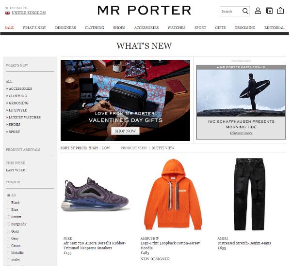 Mr Porter online store homepage