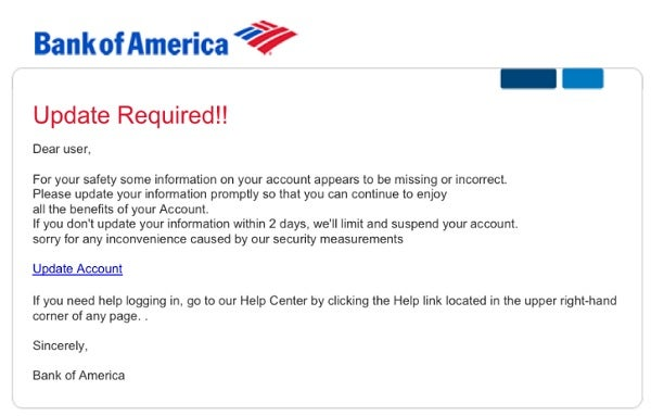 bank of america email scam - tech.co
