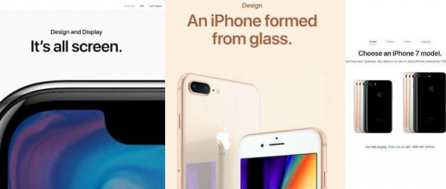 iPhone X iPhone 8 iPhone 7 product pages