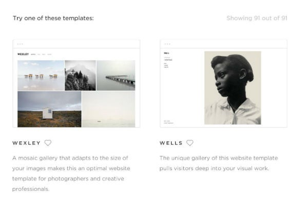 Squarespace website builder templates for photographers