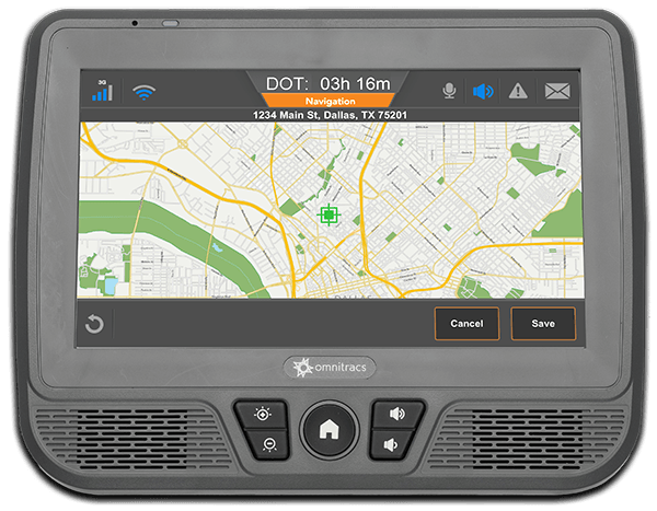 An example of the Omnitracs IVG's nav display