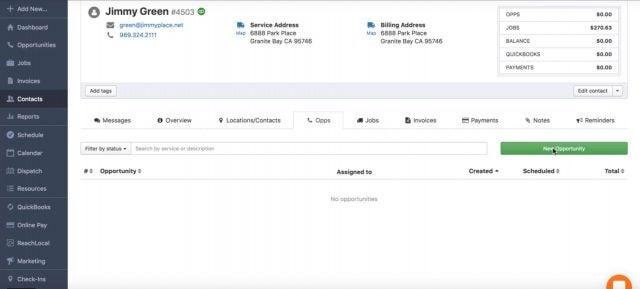 Kickserve Contacts Dashboard