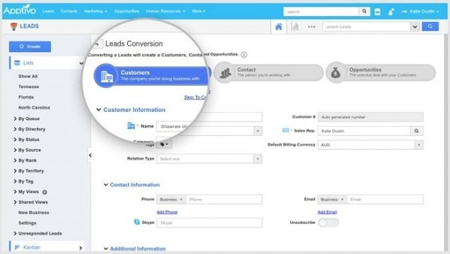 The Apptivo CRM page for lead conversion