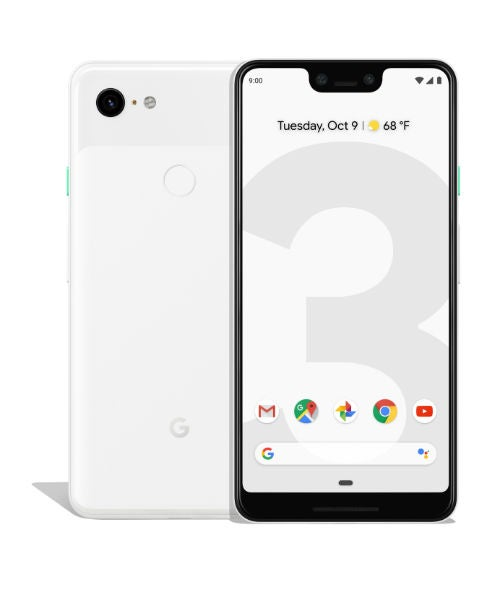 Google Pixel 3 XL front and back in clearly white
