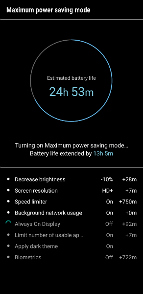 Samsung Galaxy S9 Power save