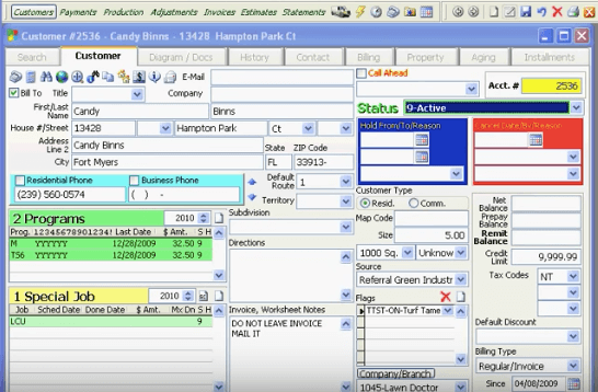 Real Green Systems lawn care software example of a customer profile