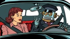Driverless car crashes robot driver in car with woman medium