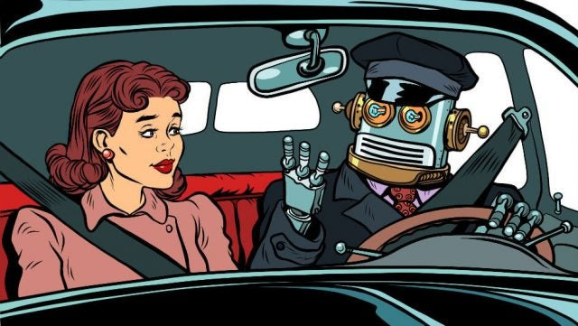 Driverless car crashes robot driver in car with woman medium