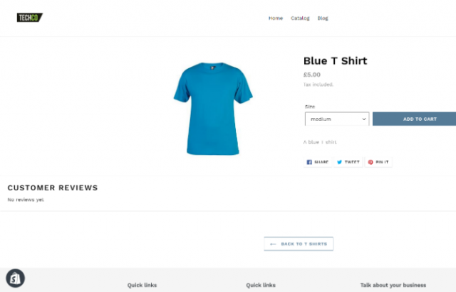 An individual product page on a Shopify website