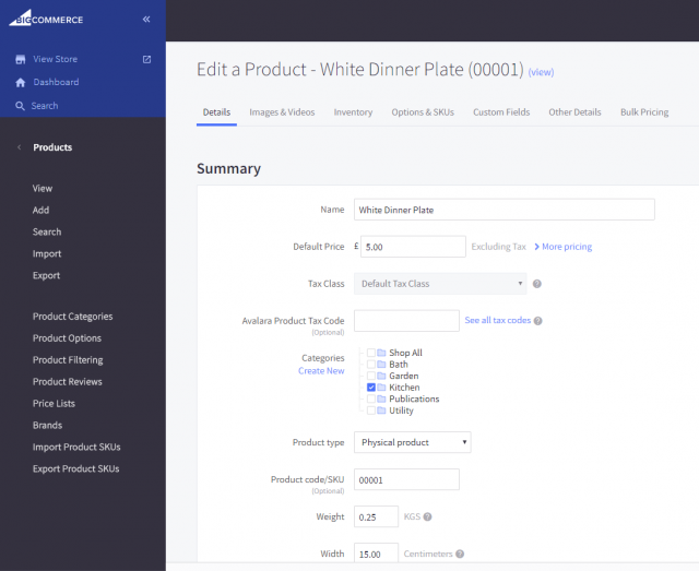 BigCommerce review product detail