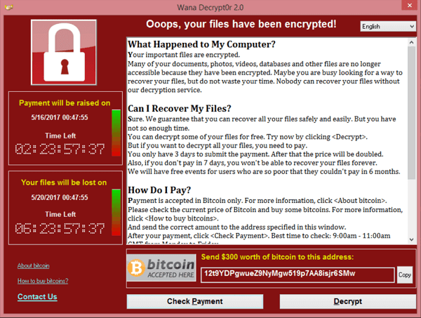 Wannacry screen pop up medium