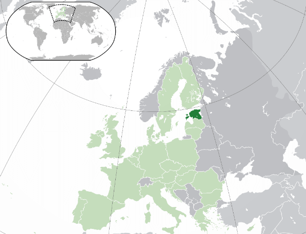 Map of Europe with Estonia medium