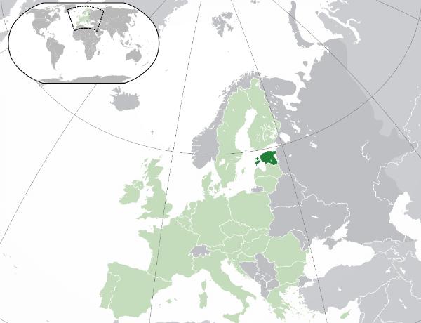 Map of Europe with Estonia medium