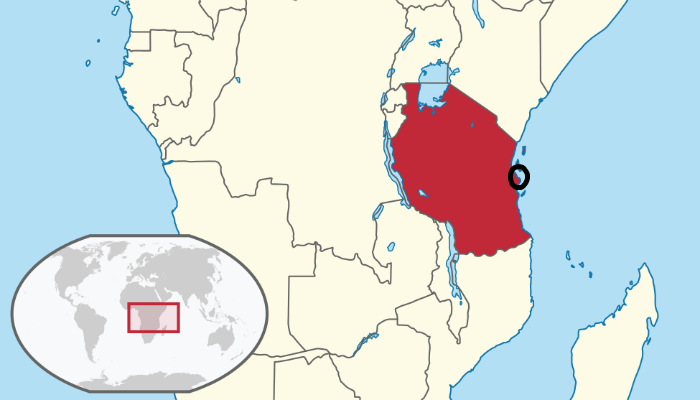 Tanzania on map of Africa