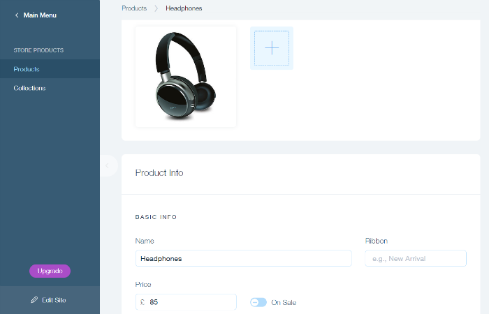 Wix Online Store headphones products page